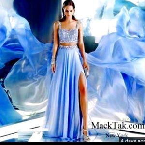 Dark Gray Two Piece prom dress